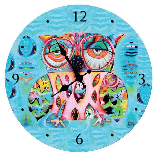 Pendule ronde en verre Chouette de Michelle Allen ENESCO : prix, avis & notation, livraison.  Horloge En verre Diam : 30 x 30 cm Fonctionne avec une pile LR6 non fournieAttention : l'horloge est fixée à l'arrière par 2 vis à l'emballage. Il est donc nécessaire de dévisser l'article de son support.