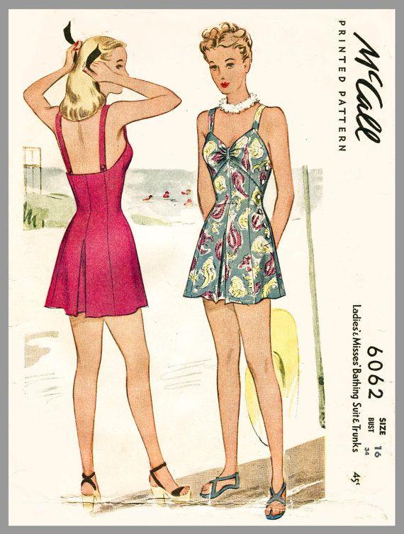 1940s vintage swimsuit sewing pattern one piece playsuit bathing suit beach romper swimwear  bust 34 b34 waist 28 w28