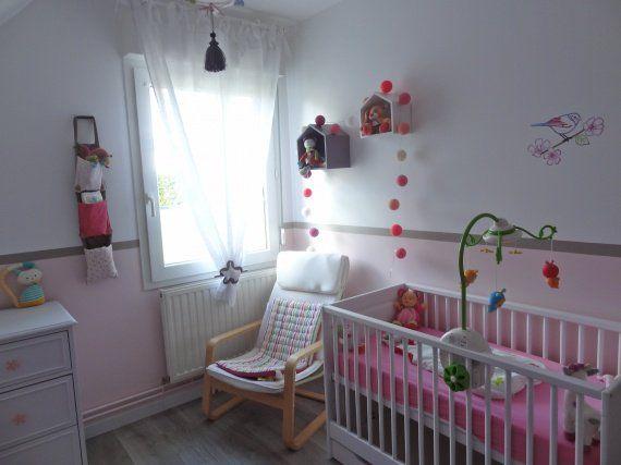 Chambre bébé fillette blanc/rose/taupe