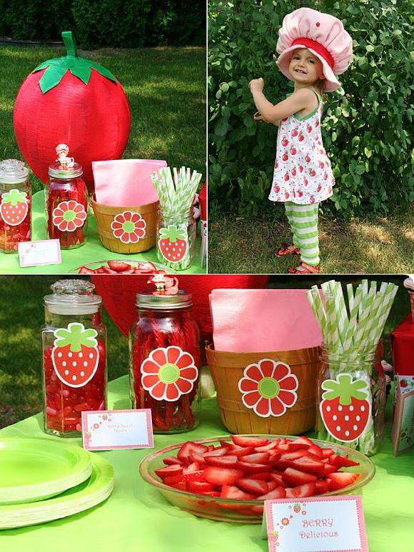 Strawberry shortcake inspired birthday party ideas and DIY decorations! perfect for Spring and summer parties too! - Blog.BirsdParty.com