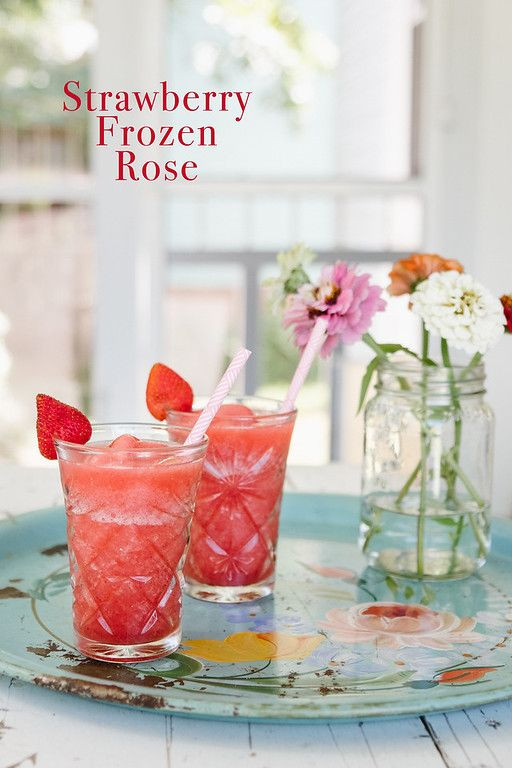 Strawberry Frosé - fresh strawberries, rosé, vodka and Campari make a sweet adult frozen treat.