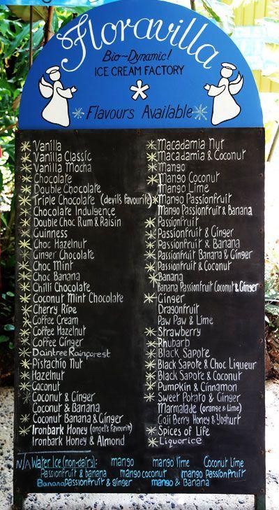 Floravilla Daintree Icecream Menu