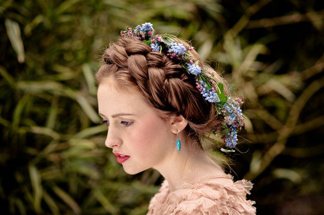 Many Irish brides wore a wreath of wildflowers in their hair rather than an elaborate veil and carried bouquets of herbs and wildflowers to match. Irish brides often wore their hair in braids with ribbon and lace woven through the braids. Braided hair is an ancient Irish symbol of feminine power and luck.