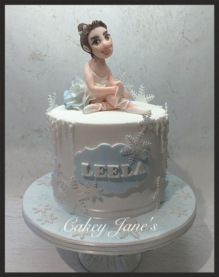 Ballerina and ice themed birthday cake; 4-layer egg-free vanilla and raspberry to serve 15