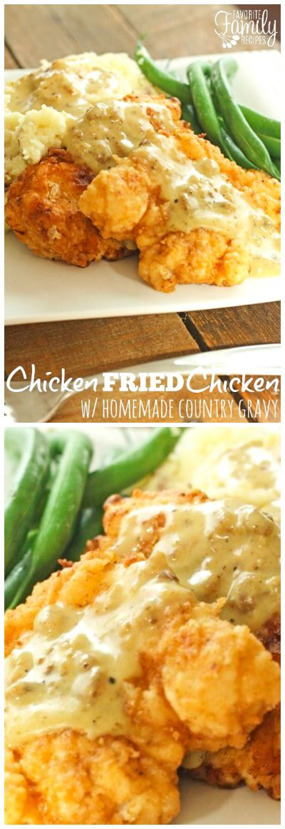 This Chicken Fried Chicken with Homemade Country Gravy is a true family favorite that always has everyone begging for more.  The gravy is to die for! via @favfamilyrecipz (Chicken)
