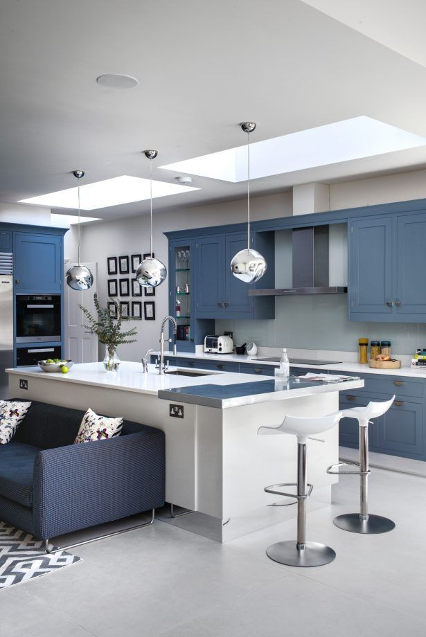 Blue Kitchen Ideas Powder Blue Navy Blue Dark Kitchen Inspiration Modern Kitchen Island Kitchen Island Design White Modern Kitchen