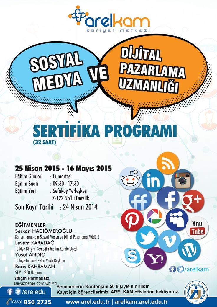 Kariyername.com sponsorluğunda Sosyal Medya ve Dijital Pazarlama Eğitimi 25 Nisan'da Arel Üniversitesi'nde başlıyor ! https://www.facebook.com/events/355553394653610/  I #sosyalmedya #dijitalpazarlama #kariyer #staj
