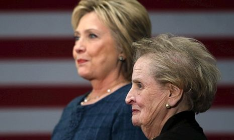 "Madeleine Albright says her remarks at a Hillary Clinton event were made 'in the wrong context'. In New York Times editorial, first female secretary of state says her remarks at a Hillary Clinton campaign event came at 'the wrong time' The first female secretary of state, Madeleine Albright, said she did not mean to tell ""a large number of women to go to hell"" at a Hillary Clinton campaign event last week."