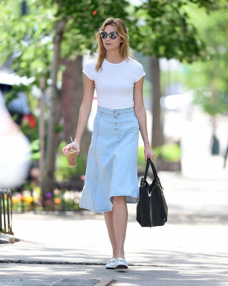 nice Длинные и короткие джинсовые юбки (50 фото) — Модные тенденции 2017 Читай больше http://avrorra.com/dzhinsovye-yubki-foto-modnye-tendencii/