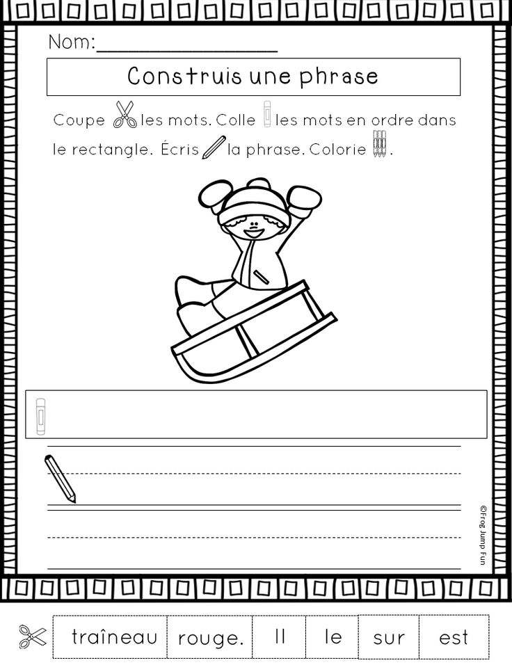 Build a Sentence Winter Edition! A fun sight word cut and paste and writing activity for primary French students!