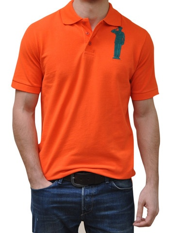 Orange Polo. 100% Organic Cotton. 3 button placket. Bold Embroidery Front & Back.  Model 6' ft, waist 31 wearing Small Bold Polo. Order online: http://www.el-capitano.com/collections/polos/products/orange