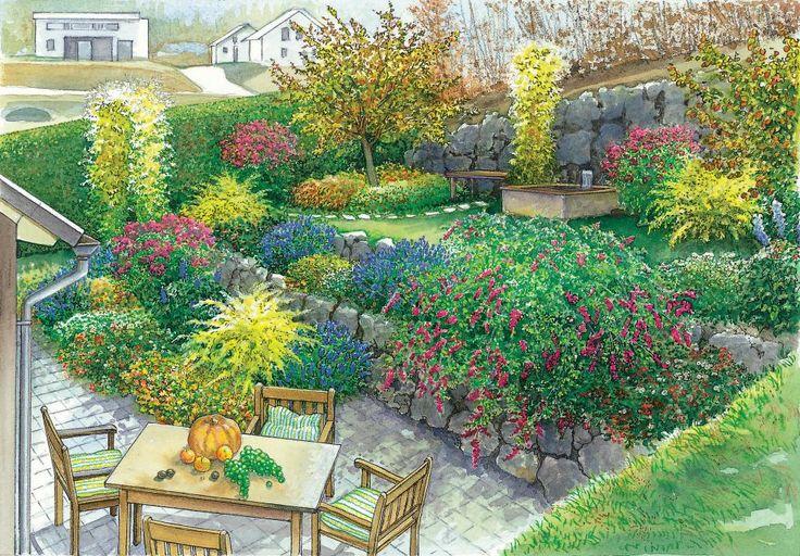 Gestaltungsideen für einen Hanggarten   Garten am hang ...