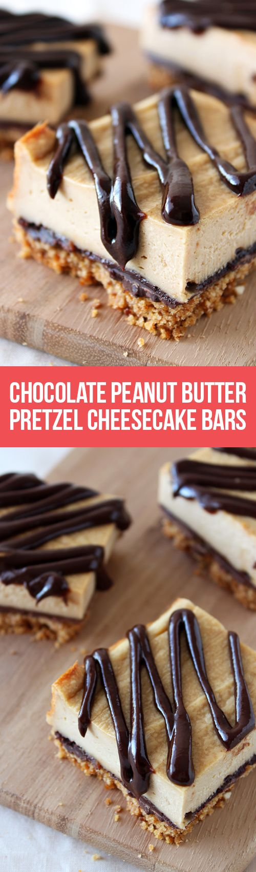 Chocolate Peanut Butter Pretzel Cheesecake Bars have a salty pretzel crust with chocolate peanut butter ganache drizzled over the peanut butter cheesecake!