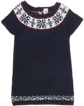 $29 Vestido bebé niña Brotes lana estampado cenefa contraste cuello