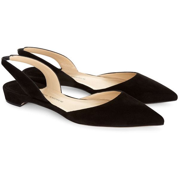 Paul Andrew Black Suede Slingback Rhea Sandals ($535) ❤ liked on Polyvore featuring shoes, sandals, paul andrew, black slingbacks, kohl shoes, black sling back shoes and black slingback shoes