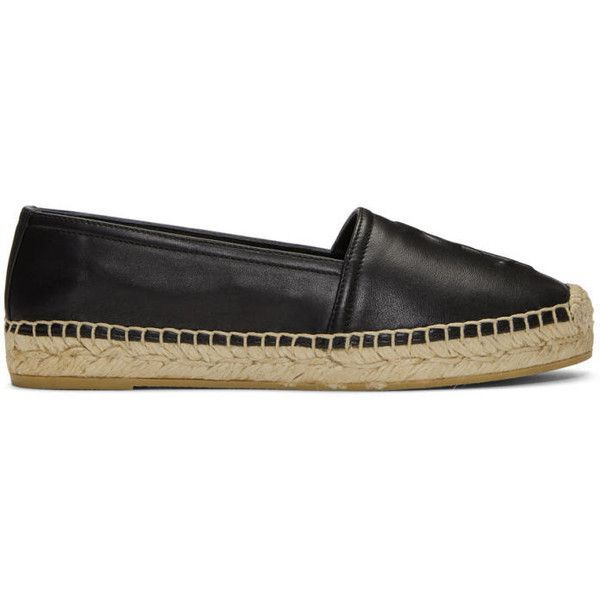 Saint Laurent Black Embossed Monogramme Espadrilles ($500) ❤ liked on Polyvore featuring shoes, sandals, black, black espadrille sandals, black shoes, black braided sandals, stitch shoes and black espadrilles