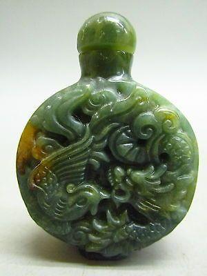 Chinese Jade Stone Carved Dragon Phoenix Pattern Snuff Bottle