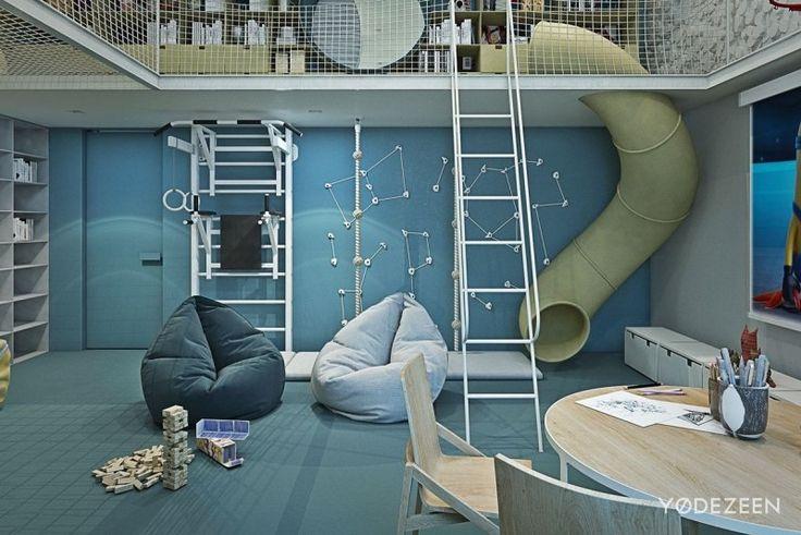 aménagement intérieur coin jeu avec poufs et mur d'escalade , chambre d'enfants parfaite