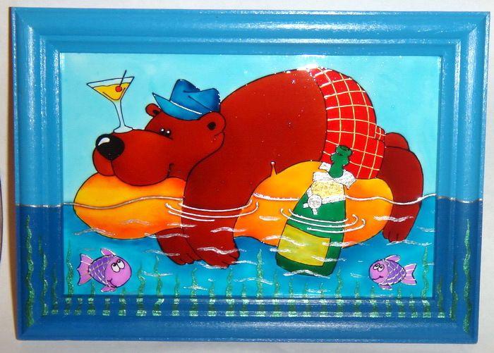 """Gallery.ru / Картина на стекле """"Медведь"""" - Витражная роспись - ellu"""