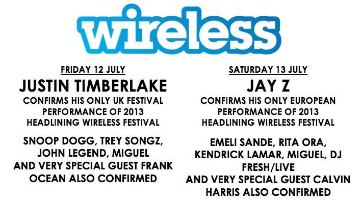#Wireless Festival 2013 has an impressive line up- Justin Timberlake, Jay Z, Snoop Dogg, Emeli Sande, Rita Ora and many more.