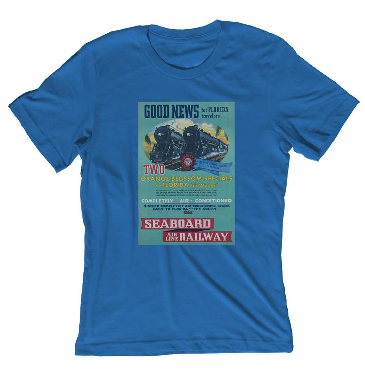 """Check out our """"Orange Blossom Special Florida Train Shirt"""" here: http://etsy.me/2iryf6G. #clothing #shirt #orangeblossom #special #floridatrainshirt #vintagetravel #steamengineposter"""