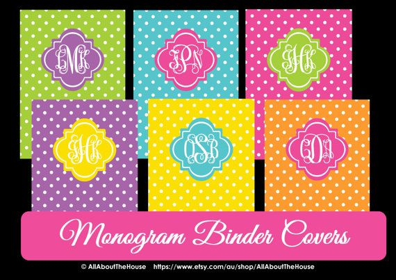 Monogram Printable Binder Cover and spine - Polka Dot -Personalised -Monogram Binder Cover-Monogram Stationery-Preppy-Back to School Available here: https://www.etsy.com/au/listing/161410406/monogram-printable-binder-cover-and?ref=shop_home_active