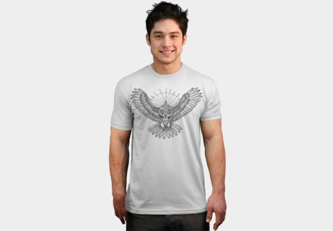 Mason owl (Black and white version) by #beatrizxe   #DBH. T-shirt – Tattoo design inspired in masonic secret society. It's an owl with a skull on the chest (formed by white feathers). In the animal's head is placed a compass with a rule and within it there is an eye (the eye that sees everything). #Freemasonry #freemason #freemasone #mason #masonic #owl #animal #skull #feather #compass #rule #eye #halo #ray #golden #ray #tattoo #ink #illustration #artwork #art #drawing #draw #tattooStyle,