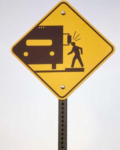 Funny street signs and funny warning signs about watching out for autocampers' bumping their heads on side-view mirrors?