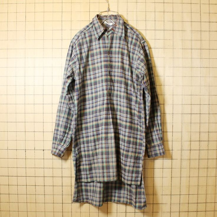 50s 60s ビンテージ グランドファーザーシャツ フランス製 古着 グリーン チェック グランパ プルオーバー メンズML ビッグシルエット