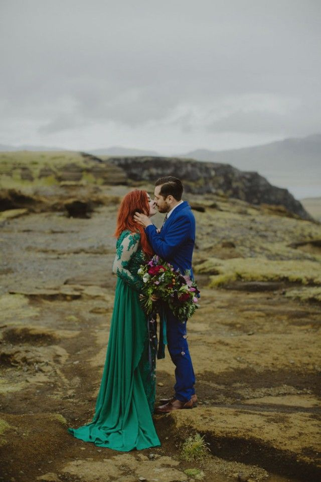Incredible Icelandic Elopement with a glam green wedding dress.