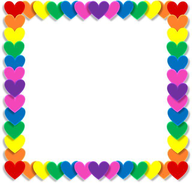 Valentine, Serce, Miłość, Ramki, Tęcza, Kolor, Granicy