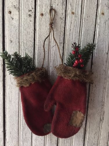 Primitive-Red-Christmas-Mitten-Ornaments-Winter-Decor-Farm-House-Log-Cabin-Mend