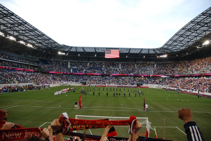 Harrison (Hudson County) - Red Bulls Arena hosts professional soccer games and the crowd cheers its approval when the Red Bulls score a goal.