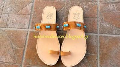 Histoires De Roses: sandals hippy style ...με μπλε χαντρες!!!