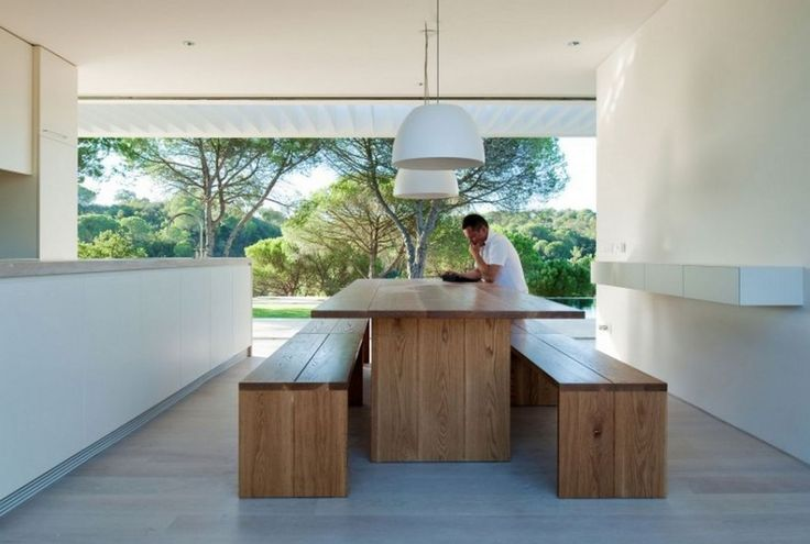 Architecture: Amazing Natural House In Melides Featuring Simple Dining Room Decor With Wooden Dining Table And Benches Beneath Oversized White Pendant Lamp Mixed With Floating Cabinet Also Long White Kitchen Island Ideas: Contemporary Vacation Home With Narrow Lots