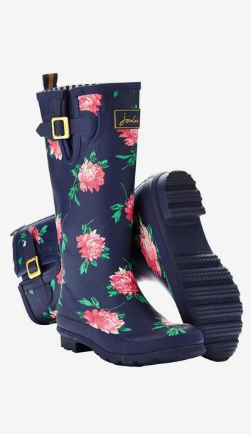 Women's Printed Rain Boot Wellies, French Navy Peony