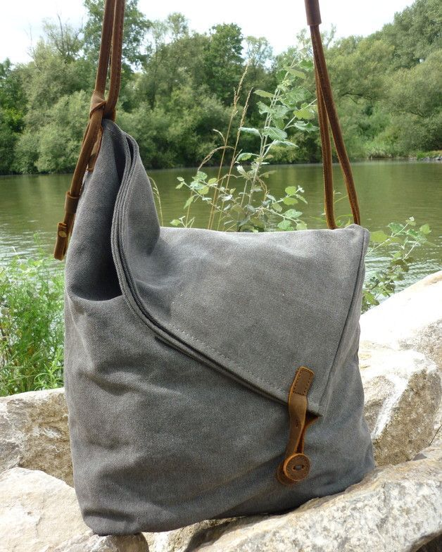 Canvas Bags – Canvas Shoulder Bag – a unique product by NordlichtBags on DaWanda. Visit http://www.sewinlove.com.au/category/fashion/accessories-fashion/ for more DIY Bags and Purses ideas.