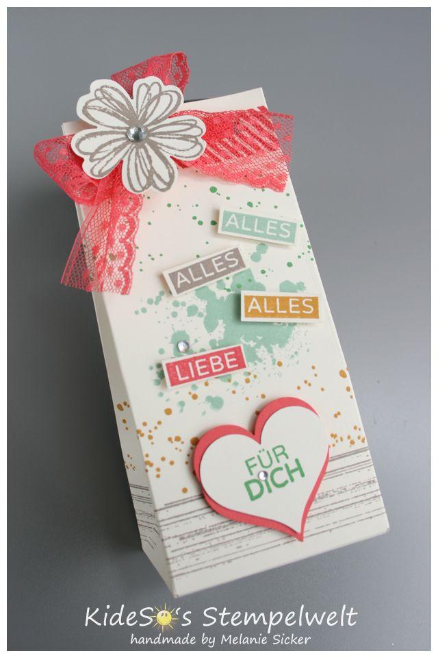 Kreativ-Wettbewerb Geschenktüte mit den Stanzen Herzblatt und Stiefmütterchen Gift box #punchitup