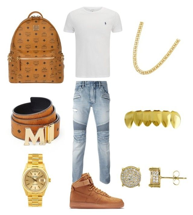 """Outchea"" by chiefkeefsosaa on Polyvore featuring Polo Ralph Lauren, Balmain, NIKE, MCM, Simply Silver, Rolex, men's fashion and menswear"