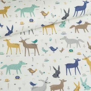 Leśne Zwierzęta na białym Tkanina Bawełniana :Nadruk Cyfrowy