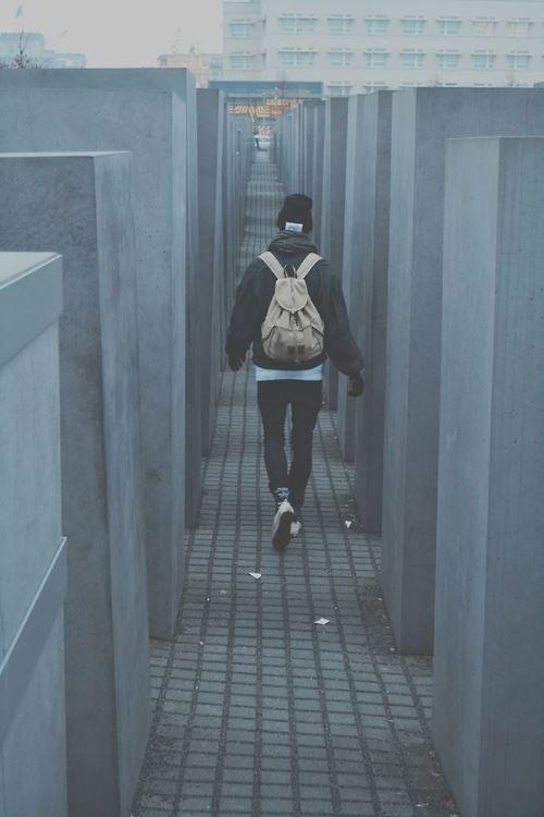 Walking through Holocaust monument in Berlin