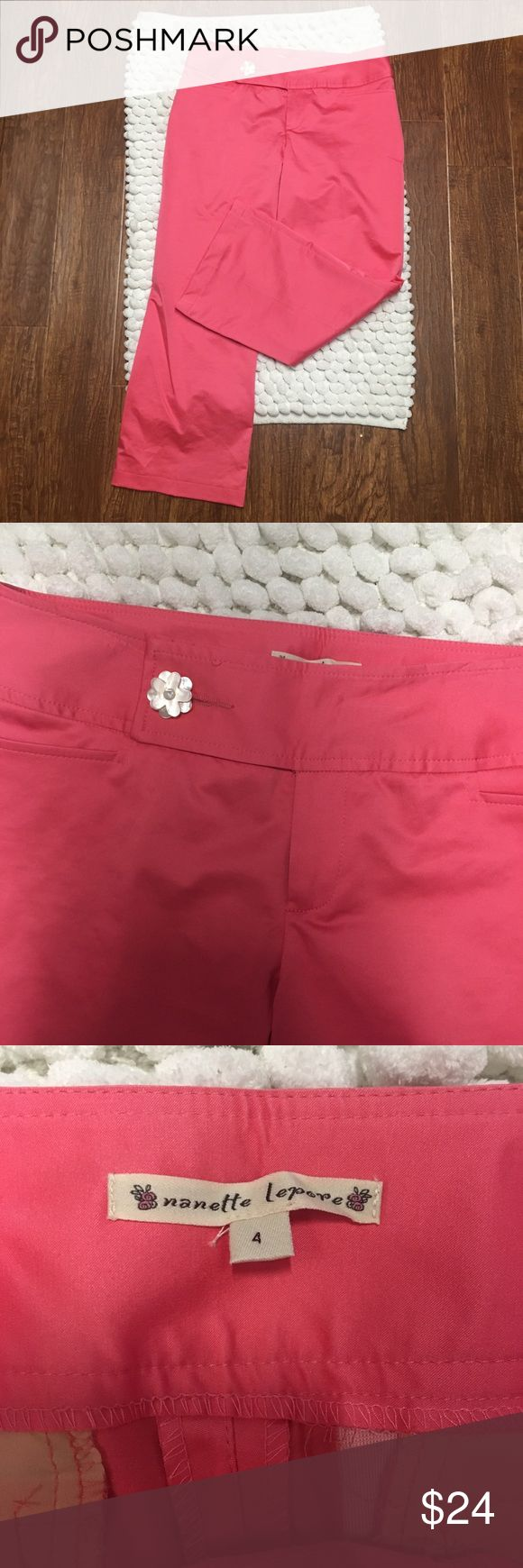 Nanette Lepore Pink pants Nanette Lepore Pink pants. Size 4. Excellent preowned condition. No stains or flaws. Bright and fun for summer. Add some cute sandals or strappy heels with a float tank top for a cute look., Nanette Lepore Pants