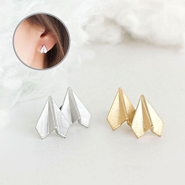 Tiny Paper Airplane Stud Earrings, Gold Or Silver, Origami Aeroplane Ear Posts on Luulla