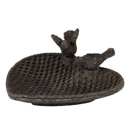 Traditional Style Cement Bird Feeder W/ Two Bird Figurines Black