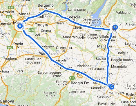 viaggio al Duomo di Milano- mappa realizzata con google maps