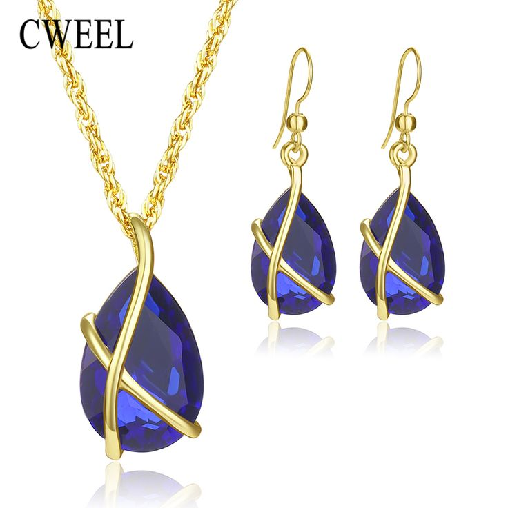 CWEEL Women Jewelry Set Gold Plated Fashion Necklace Earring Imitated Crystal African Costume Nigerian Woman Wedding Accessories