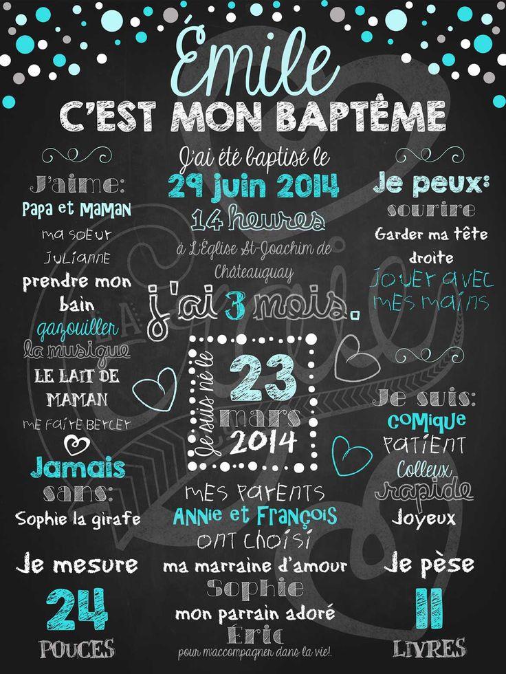 Affiche personnalisée Baptême Pluie de confettis (bleu) | 28,00$ #chalkboard #lacraieco