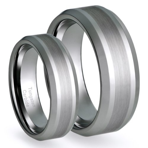 His & Her's 8MM/6MM Tungsten Carbide Brushed Finish Wedding Band Ring Set