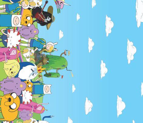Adventure Time Border Print Fabric By Electrogiraffe On