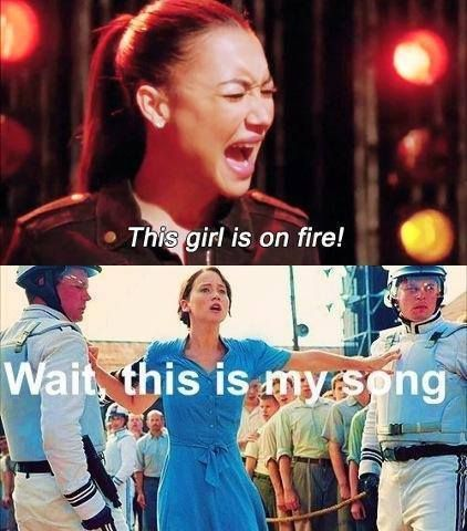 You stop singing it lady! Cause I'm da girl on fire! Bet you never been on fire!